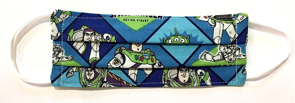 Tiny blue cotton mask laid flat with blue & green Buzz Lightyear print