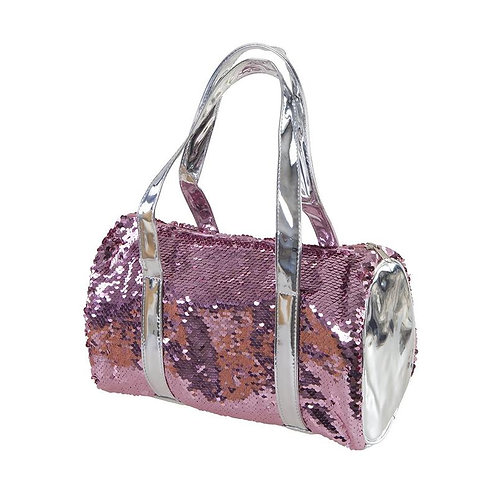 Little girls' Great Pretenders Rose Sequin Ballet bag with silver ends and straps and pink sequins all over
