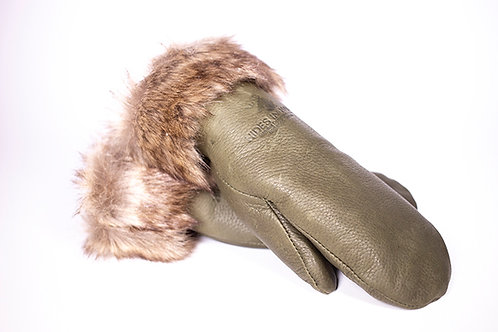 Pair of green deerskin mitts with brown fur trim at cuffs