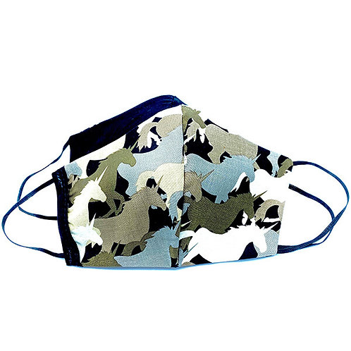 Both sides of Reversible & Reusable Protective Mask-Camo print of Unicorns on one side-solid black the other