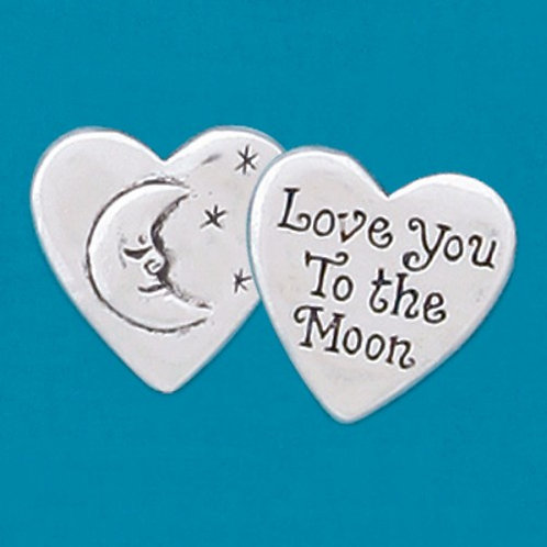 2 heart shaped pewter charms with crescent moon & star on one & 'Love you to the Moon' on the other