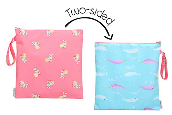 2 Sided Kids Wet Bag - Mermaid / Narwhal