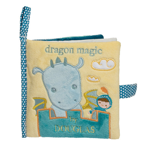 Soft yellow & blue fabric book titled Dragon Magic with velcro closure strap and fabric hook