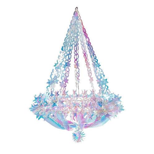 Iridescent metallic party chandelier pastel colors