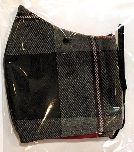 close up of kids cotton protective mask-black & gray plaid