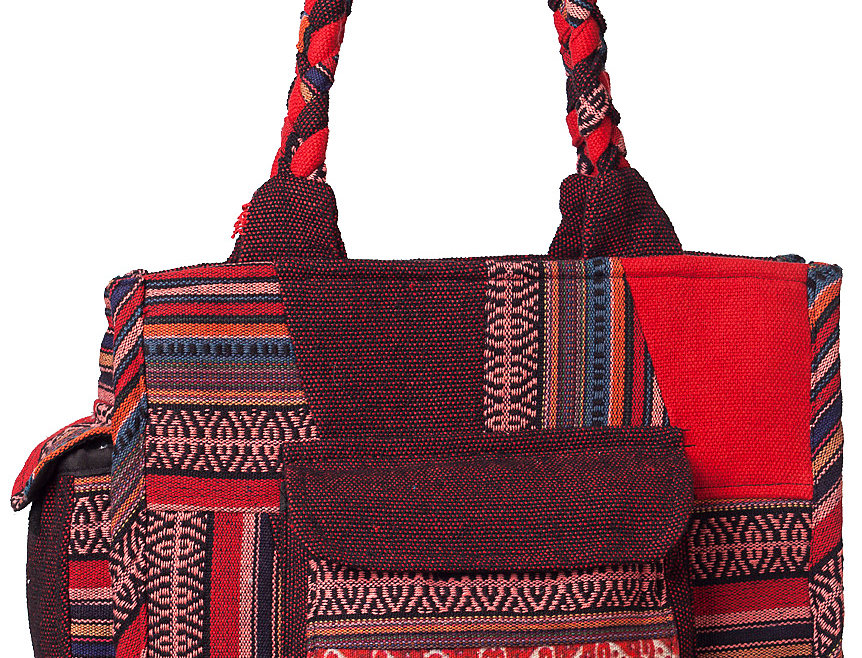 Ark Fair Trade Mandu Tote Bag solid, patch and striped cotton-2 outer pockets-thick braided handle shades of red and burgundy