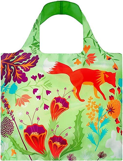 Wide handled cloth shopping bag lime green with vivid orange fox & purple flowers
