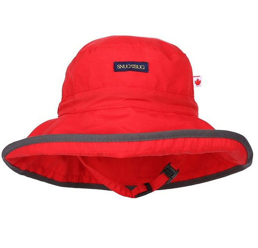 Snug as a Bug Red Adjustable Sun Hat with gray trim around brim, front view