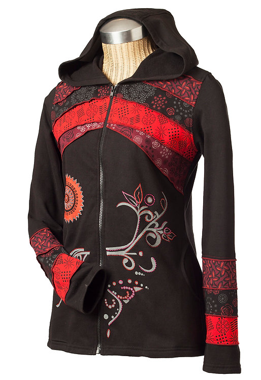 Ark Fair Trade Twiggy Jacket-side view-hood-black with printed red stripes across chest and cuff-silver flower on left