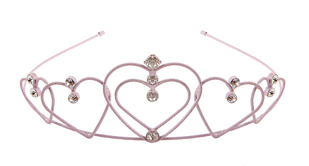 slender pink tiara with five jewel-studded pink heart shapes arranged symmetrically across the front