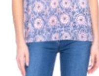 Model wearing pink & blue short sleeve pullover blouse