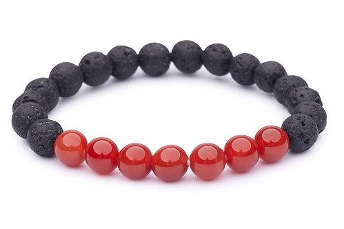Lava Bead Stretch Bracelet with carnelian beads