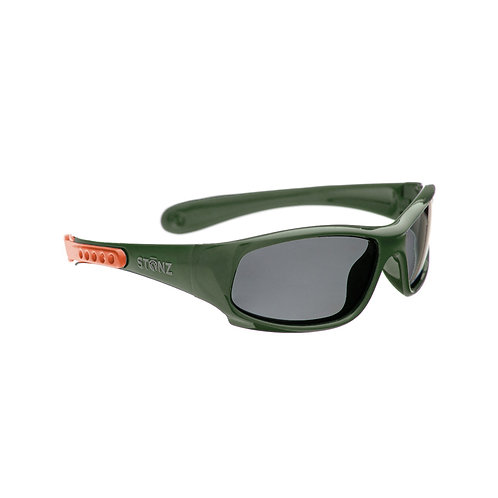 Side view of glossy green sport sunglasses for babies