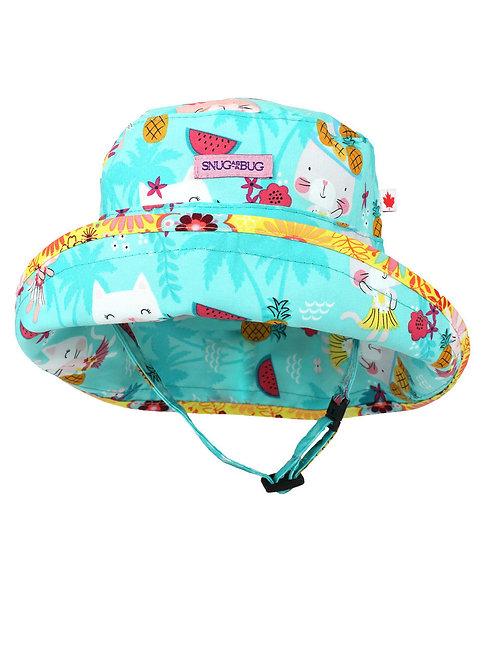 Snug as a Bug Hula Kitty Adjustable Sun Hat front view