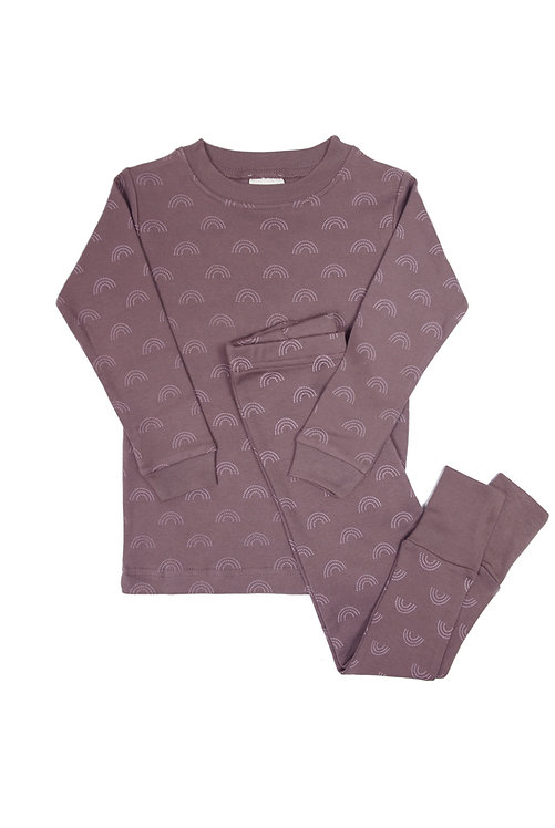 2 piece set of kids pajamas plum with gray rainbows print
