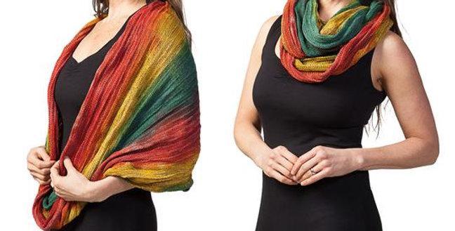 Female modeling Rainbow Tie-Dye Magic Infinity Scarf worn as shawl and as scarf