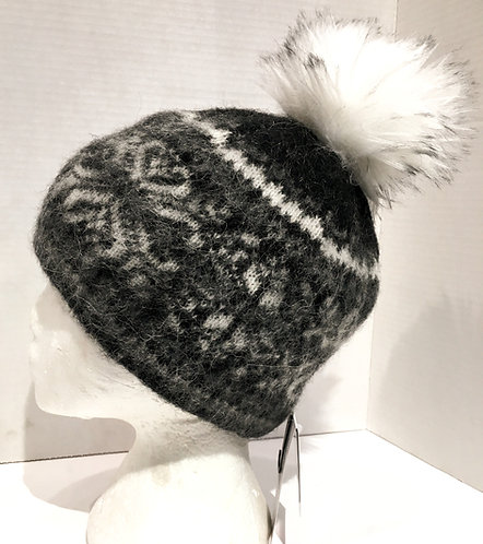 Wool toque with black, gray & white pattern & white faux fur pompom
