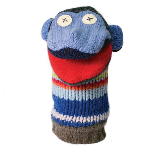 Wool hand puppet in shape of monkey head & ears