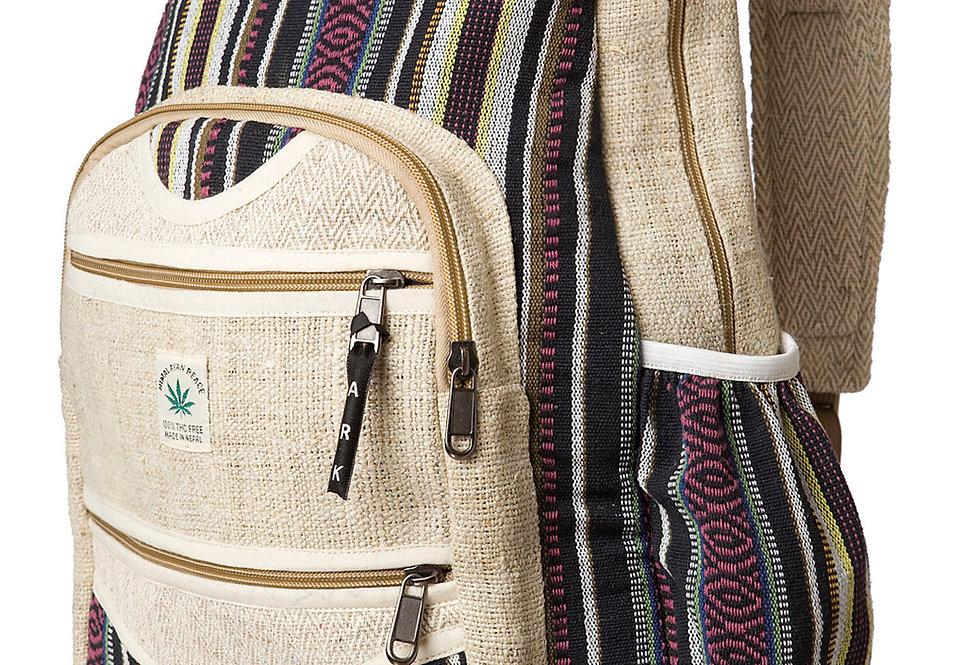Ark Fair Trade Hemp Cotton Knapsack-3 outer zip pouch-main zip pouch-adjustable strap natural colour & black stripes