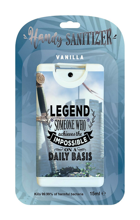 Dark blue rectangular hand sanitizer packet - Legend