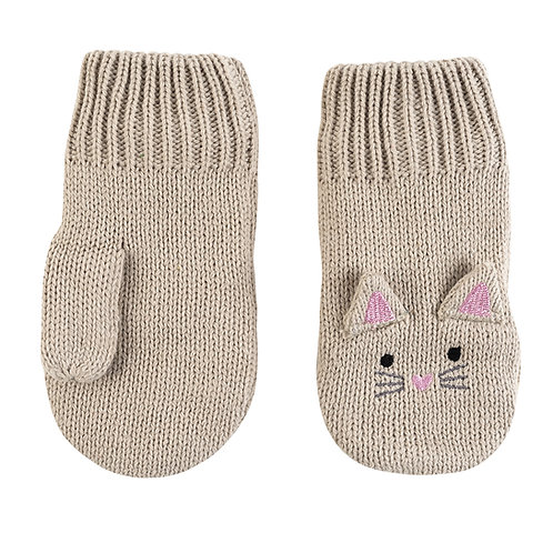 pair of beige knit baby mitts with kitten ears, eyes & whiskers knit into the backs