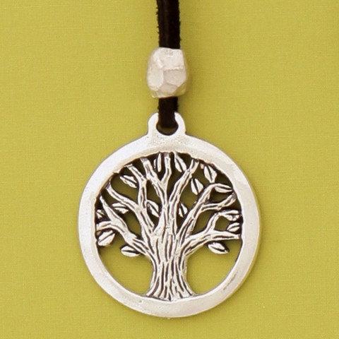 Basic Spirit Pewter Tree of Life Pendant on black leather cord