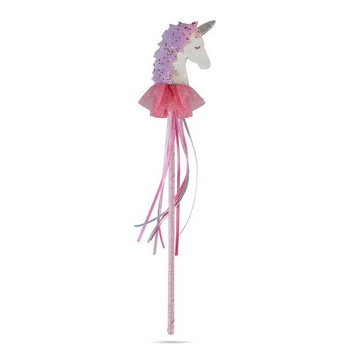 Sparkly wand topped with a pink & white unicorn wearing a tutu and long pink ribbons