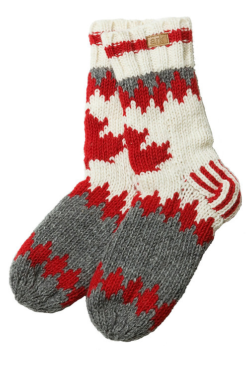 Gray, red & white wool socks with maple leaf on front of leg