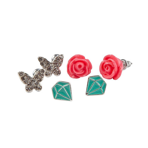 3 pairs of child's stud earrings - roses, turquoise faceted stone shape & sparkly butterflies