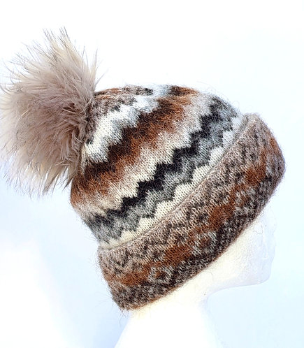 Icelandic Wool Cuffed Toque - zigzag with pompom