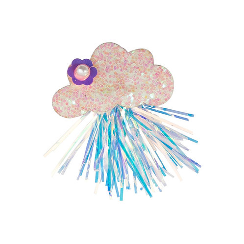Sparkly cloud shaped hair clip with pink & blue rain-like streamers