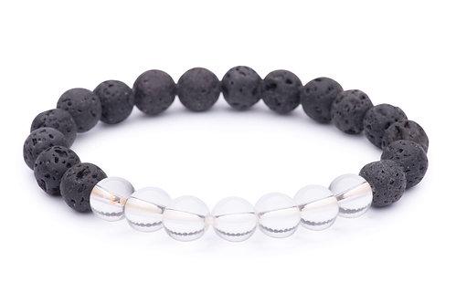 Lava Bead Stretch Bracelet with clear quartz beads
