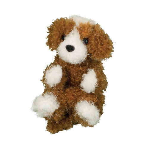 Small Brown & white curly haired stuffed dog toy