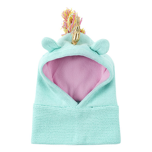 front view of mint green knit baby balaclava with pink lining & green ears on top with multi-colored mane