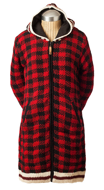 Front view of red & black checked long cardigan with zipper and hood, 2 side pockets
