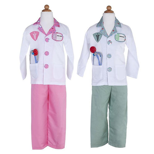 2 Doctor Dress-Up Sets-1 pink pant-white shirt-pink trim-1 green pant-white shirt-green trim-both have strethoscope in pocket