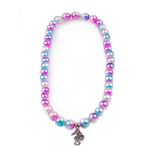 Great Pretenders Mermaid Mist Necklace with pink, purple and blue beads and seahorse pendant
