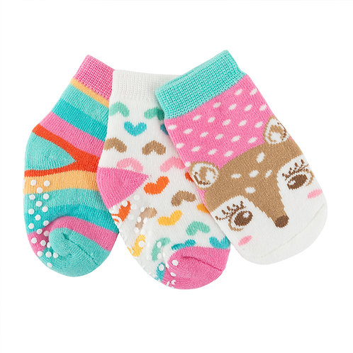 3 pairs of fiona-fawn themed socks-1 pink & blue with fawn face, 1 white with multi-colored hearts, 1 multi stripes