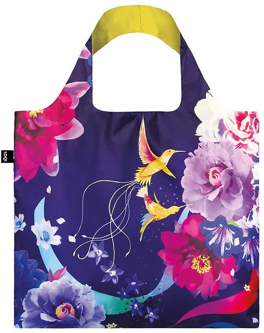 Wide handled dark purple cloth shopping bag with Shinpei Nation's colorful elegant flowers & hummingbirds