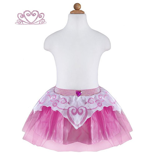 Body form showing shiny pink tutu with white overlay skirt & pink tiara