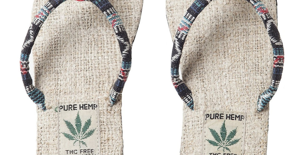 Ark Fair Trade Hemp Womens Sandals flip-flop style-black striped thong-natural sole-tag says PURE HEMP THC FREE MADE IN NEPAL