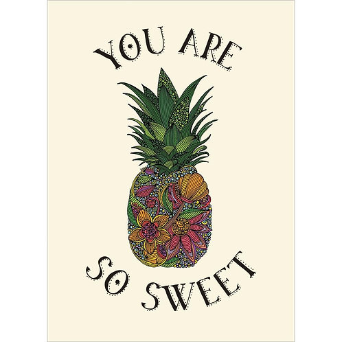 Front of pale yellow card-big pineapple-tropical flowers-text 'You are so Sweet'