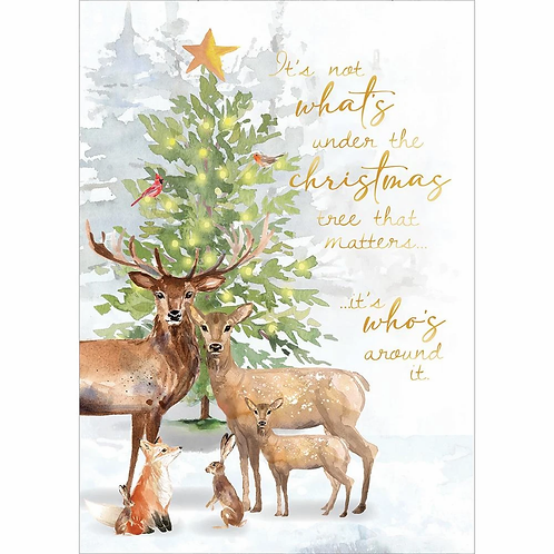White card with soft watercolor of evergreen tree with woodland creatures grouped in front of it
