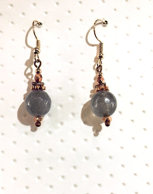 Rose Gold earrings with 10mm gray quartz stones