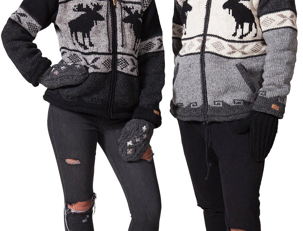Female & male models wearing moose cardigans