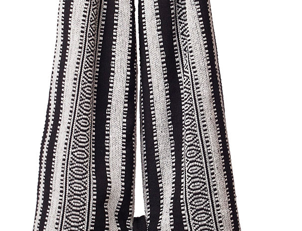 Fair Trade textile shoulder purse vertical stripes black and white-thick textile strap all one piece