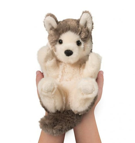Small hands cupping Small plush baby wolf - gray and white stuffed toy