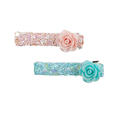 pink & aqua hair clips with rosettes