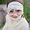Head & shoulders of child wearing Beige mummy costume with gauze-like wrapped top & head piece