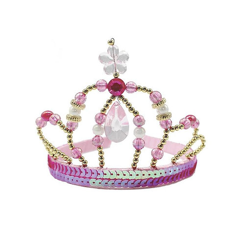 Fancy Child sized princess tiara with pink & white pearls, gold beads and pink sequinned band